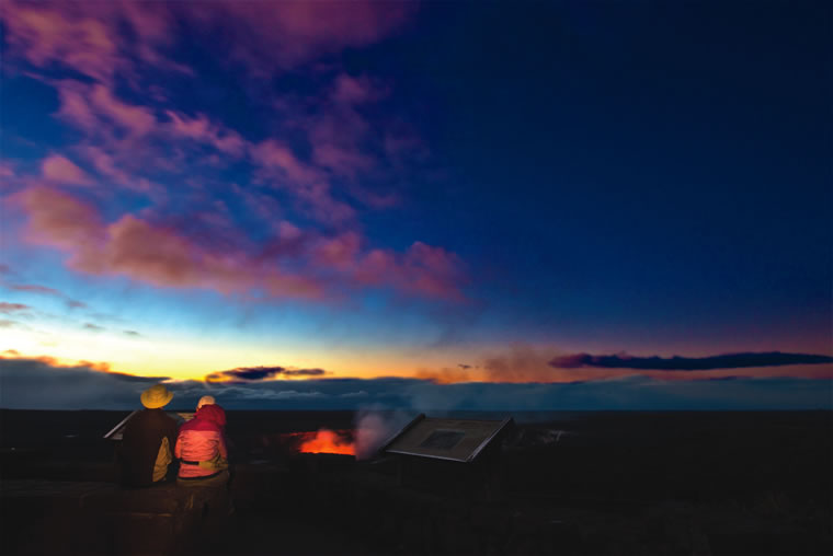 The glow from the lava lake within Halemaumau Crater is best seen in the early morning. | Photo by Janice Wei/Courtesy of NPS Photo