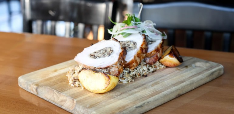 Three Seventy Common Kitchen & Drink's Wild Mushroom-Stuffed Pork Loin