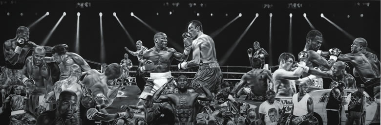 Dave Hobrecht's 12-foot painting of Floyd Mayweather was on display in Las Vegas during the boxer's title fight in May.
