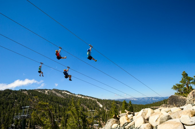 Four riders can race each other along the 1,000-foot-long Hot Shot Zip Line.