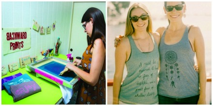 Backwards Prints uses water-based ink to silk-screen creative prints by hand onto tank tops.