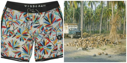"Vissla's ""upcycled"" boardshorts are made using the fibrous outer husk of coconuts."