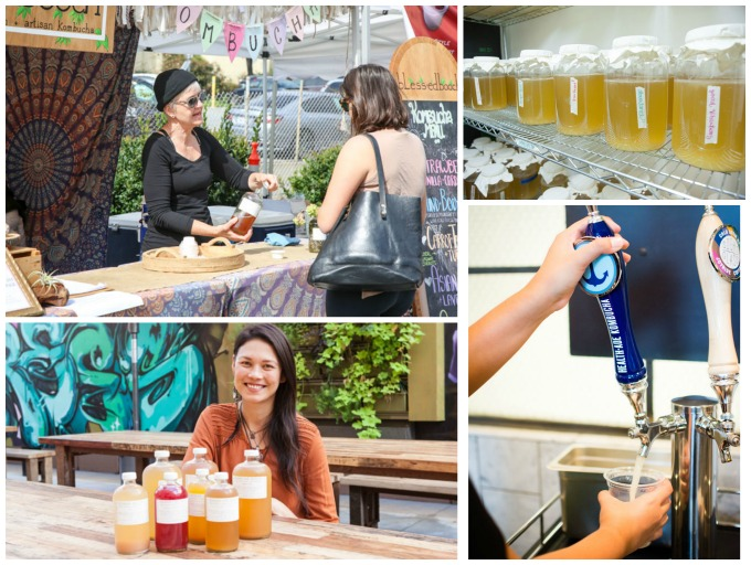 Top left: Laguna Beach resident Christy Rumbaugh started Blessed Booch in 2015 and no selss several flavors of her kombucha, show above in the fermentation process. Bottom right: Health-Ade Kombucha on tap at Project Juice