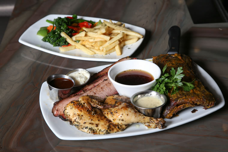 Combo platter with herb-roasted chicken