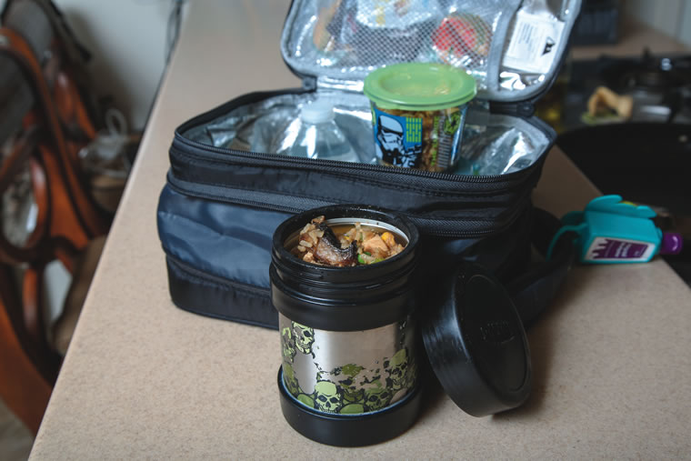 Chef Craig Connole's son, Jack, enjoys a hot school lunch packed in a Thermos.