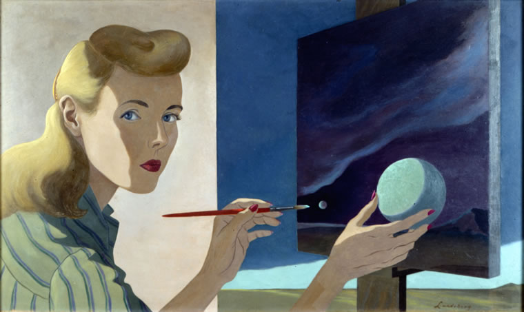 """""""Self-Portrait"""" by Helen Lundeberg (Collection of Zimmerli Art Museum at Rutgers University, Gift of Lorser Feitelson and Helen Lundeberg Feitelson Foundation)"""