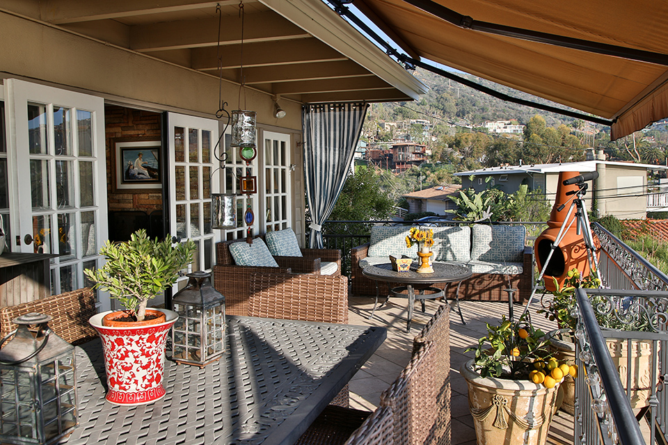 The Marino's home features an open floor plan, which flows from the courtyard to the back deck.