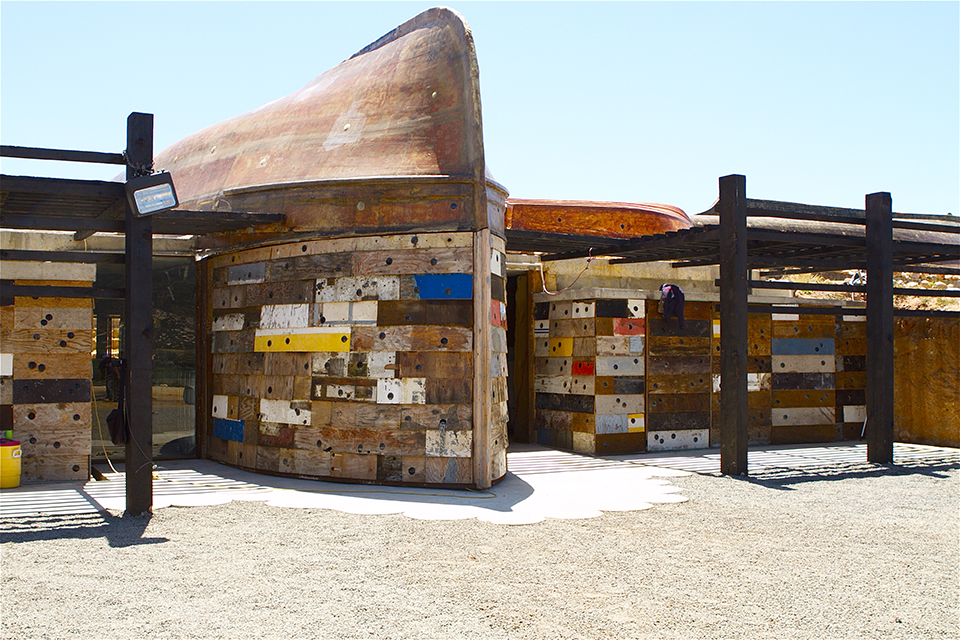 Vena Cava winery is built from reclaimed boats. (Photo by Peter Stranger)