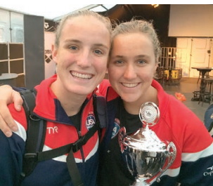 Makenzie (left) and Aria celebrate a win in New Zealand.