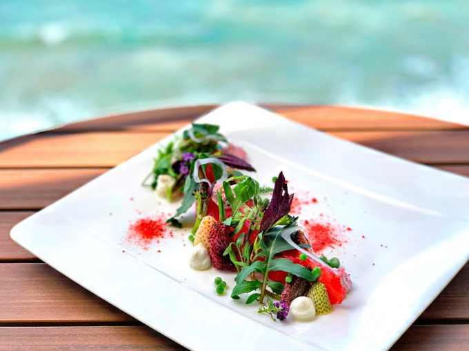 Splashes offers a Compressed Watermelon Salad.