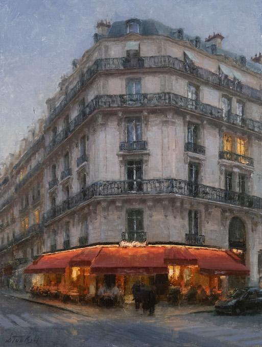 "Kyle Stuckey 16x12"" Paris Dining oil 1,900_Photo by Vanessa Rothe Fine Art"